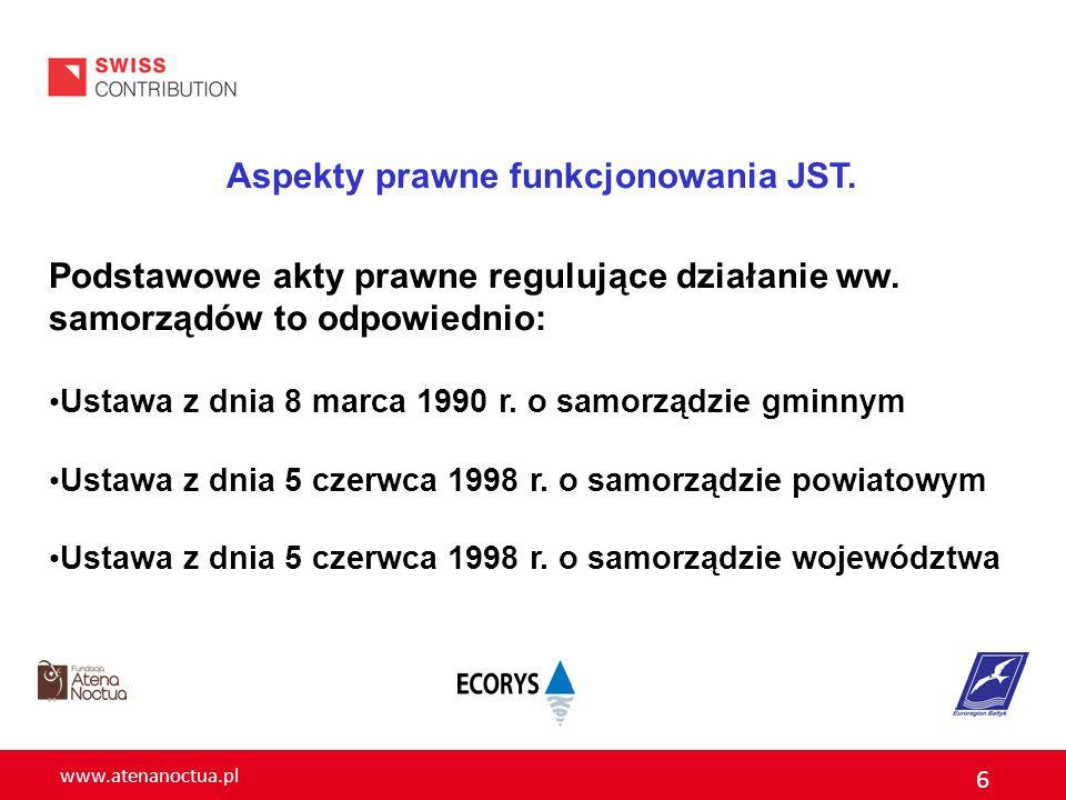 www.atenanoctua.pl 6 Aspekty prawne funkcjonowania JST. Podstawowe akty prawne regulujące działanie ww. samorządów to odpowiednio: Ustawa z dnia 8 mar