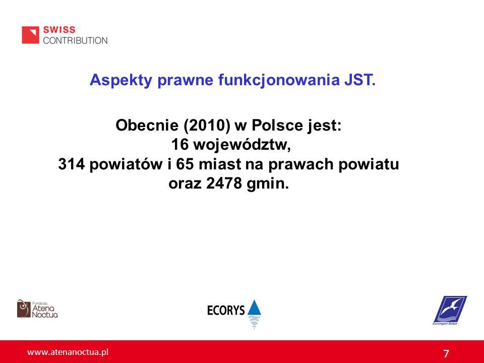 www.atenanoctua.pl 7 Aspekty prawne funkcjonowania JST. Obecnie (2010) w Polsce jest: 16 województw, 314 powiatów i 65 miast na prawach powiatu oraz 2