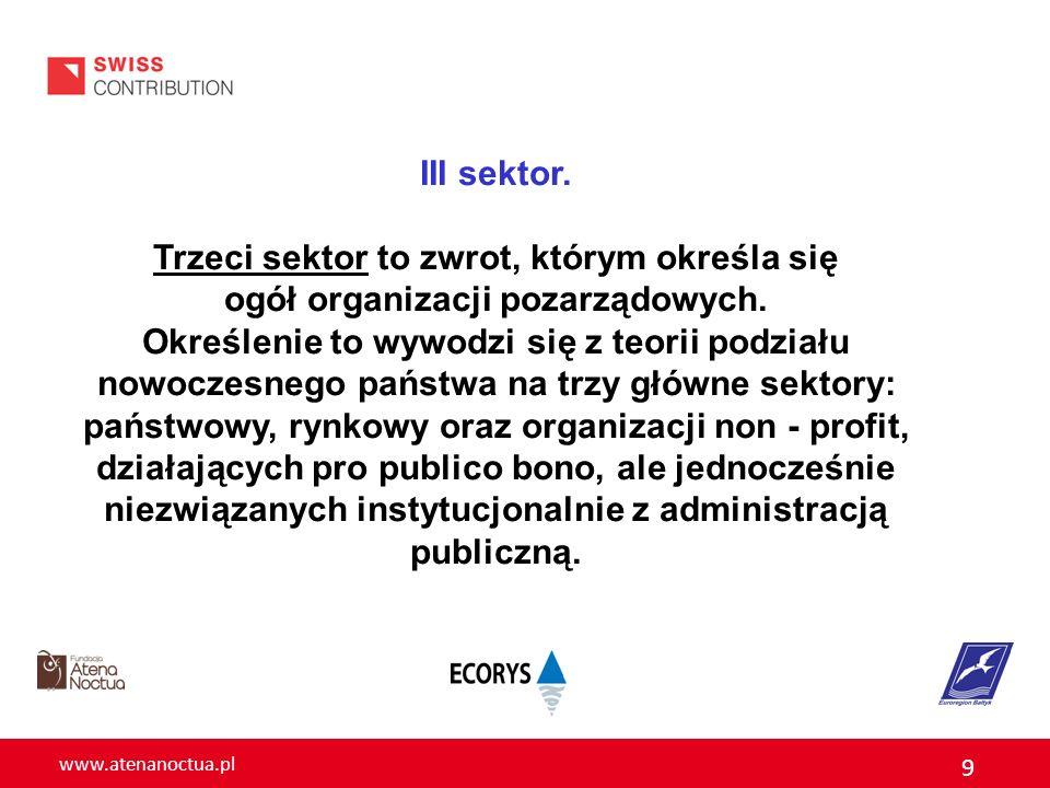 www.atenanoctua.pl 9 III sektor. Trzeci sektor to zwrot, którym określa się ogół organizacji pozarządowych. Określenie to wywodzi się z teorii podział