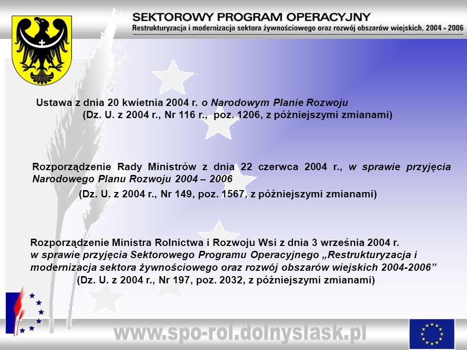 Rozporządzenie Rady Ministrów z dnia 22 czerwca 2004 r., w sprawie przyjęcia Narodowego Planu Rozwoju 2004 – 2006 (Dz. U. z 2004 r., Nr 149, poz. 1567