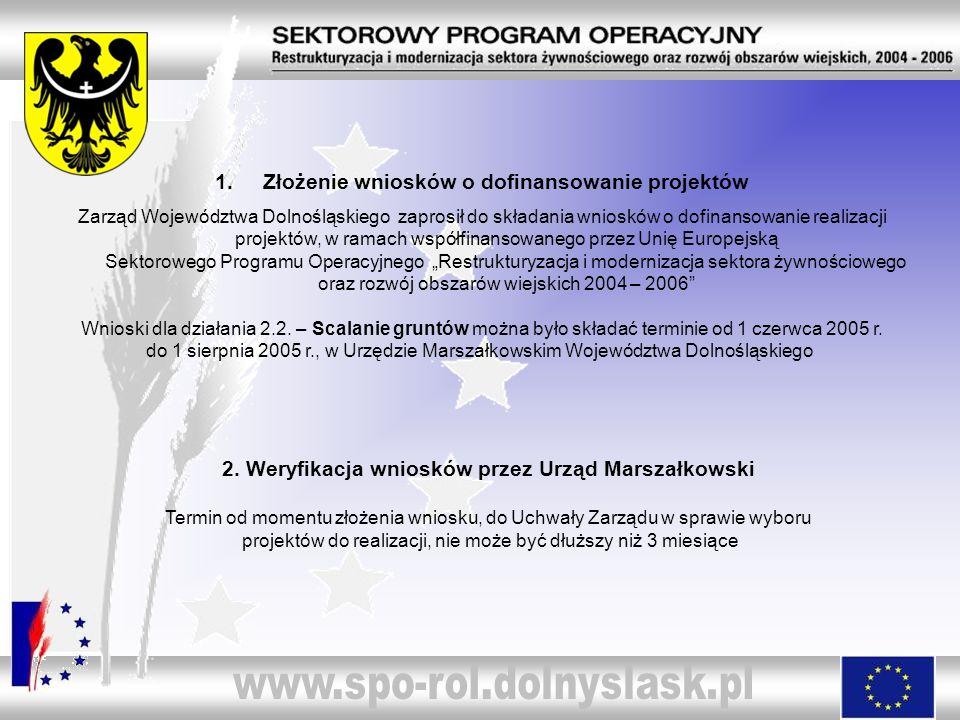 1.Złożenie wniosków o dofinansowanie projektów Zarząd Województwa Dolnośląskiego zaprosił do składania wniosków o dofinansowanie realizacji projektów,