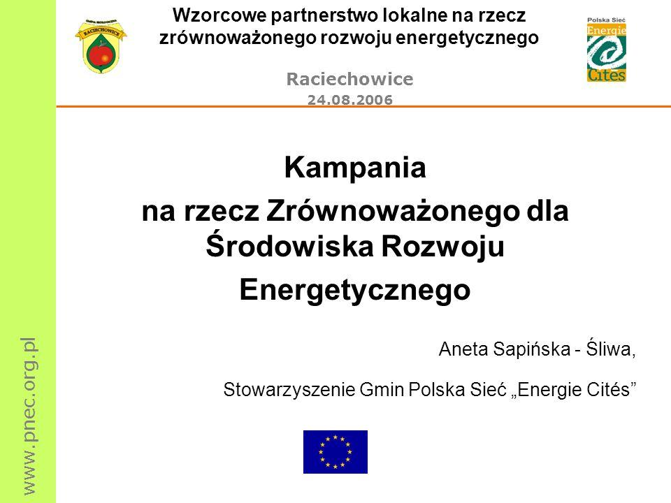 www.pnec.org.pl Wzorcowe partnerstwo lokalne na rzecz zrównoważonego rozwoju energetycznego Raciechowice 24.08.2006 Kampania na rzecz Zrównoważonego dla Środowiska Rozwoju Energetycznego Aneta Sapińska - Śliwa, Stowarzyszenie Gmin Polska Sieć Energie Cités