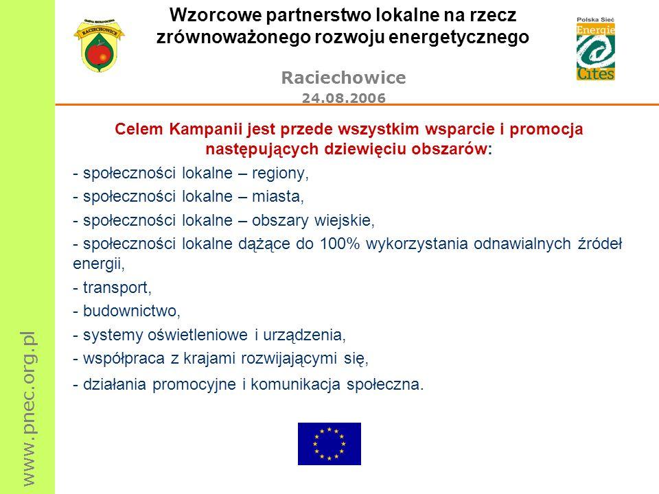www.pnec.org.pl Wzorcowe partnerstwo lokalne na rzecz zrównoważonego rozwoju energetycznego Raciechowice 24.08.2006 Celem Kampanii jest przede wszystk