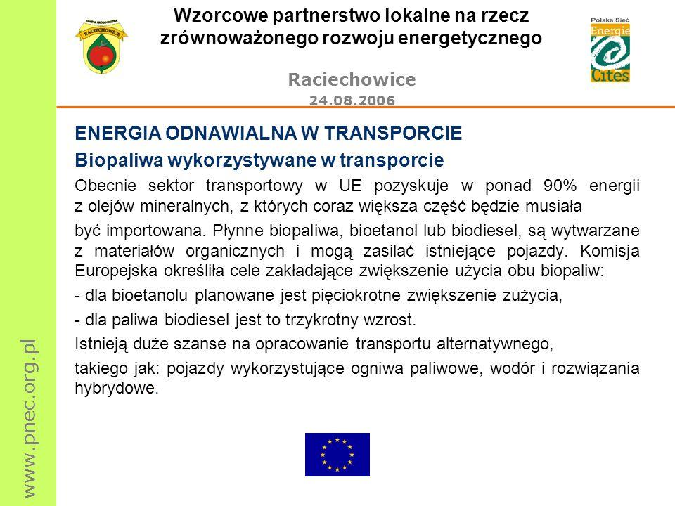 www.pnec.org.pl Wzorcowe partnerstwo lokalne na rzecz zrównoważonego rozwoju energetycznego Raciechowice 24.08.2006 ENERGIA ODNAWIALNA W TRANSPORCIE B