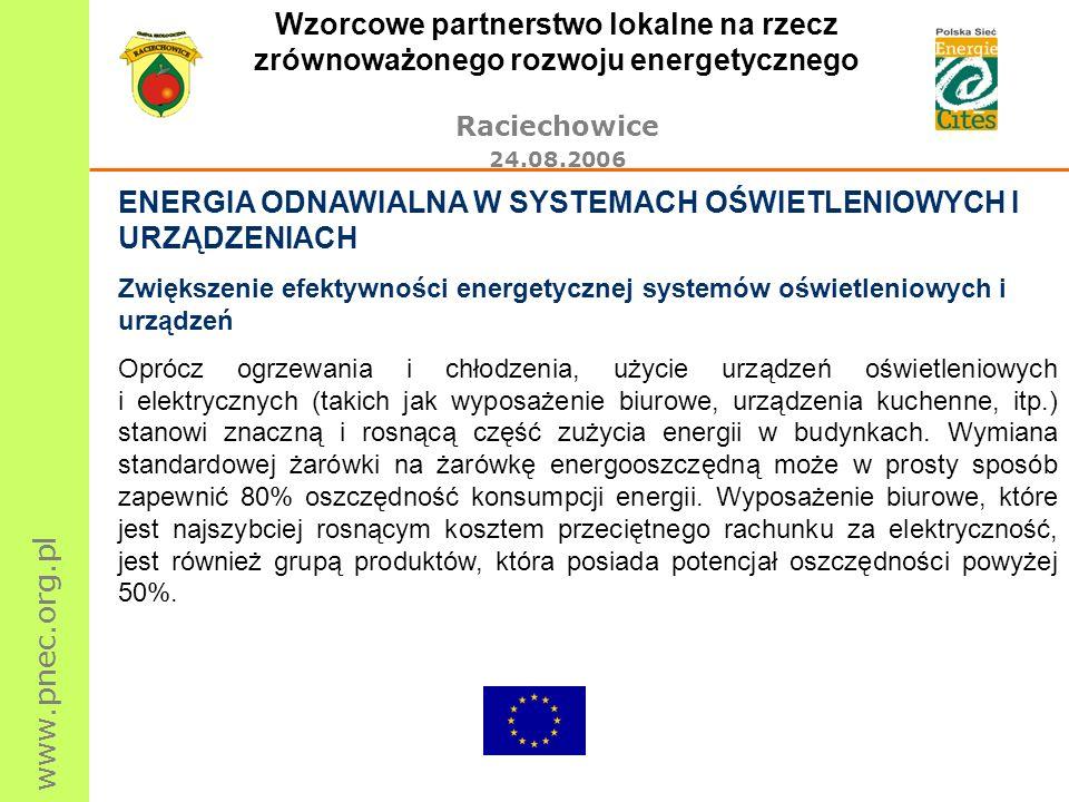 www.pnec.org.pl Wzorcowe partnerstwo lokalne na rzecz zrównoważonego rozwoju energetycznego Raciechowice 24.08.2006 ENERGIA ODNAWIALNA W SYSTEMACH OŚWIETLENIOWYCH I URZĄDZENIACH Zwiększenie efektywności energetycznej systemów oświetleniowych i urządzeń Oprócz ogrzewania i chłodzenia, użycie urządzeń oświetleniowych i elektrycznych (takich jak wyposażenie biurowe, urządzenia kuchenne, itp.) stanowi znaczną i rosnącą część zużycia energii w budynkach.