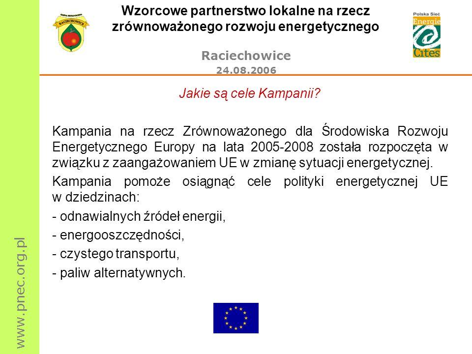 www.pnec.org.pl Wzorcowe partnerstwo lokalne na rzecz zrównoważonego rozwoju energetycznego Raciechowice 24.08.2006 Jakie są cele Kampanii? Kampania n
