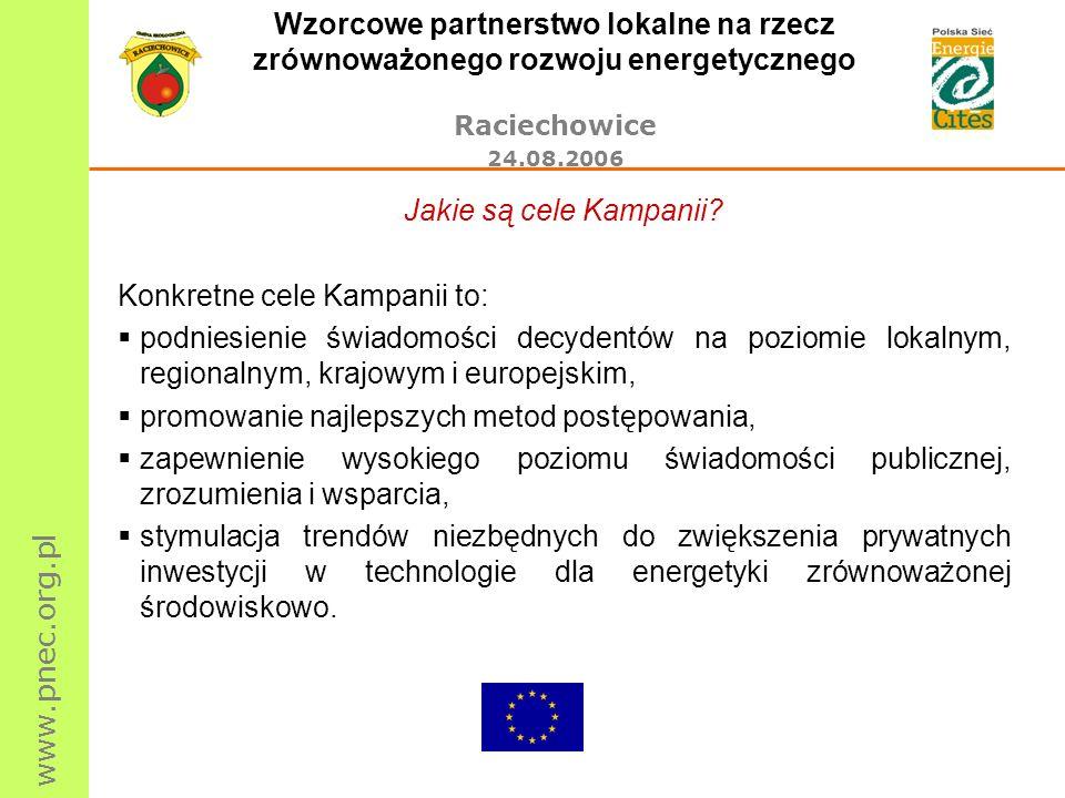 www.pnec.org.pl Wzorcowe partnerstwo lokalne na rzecz zrównoważonego rozwoju energetycznego Raciechowice 24.08.2006 Jakie są cele Kampanii? Konkretne