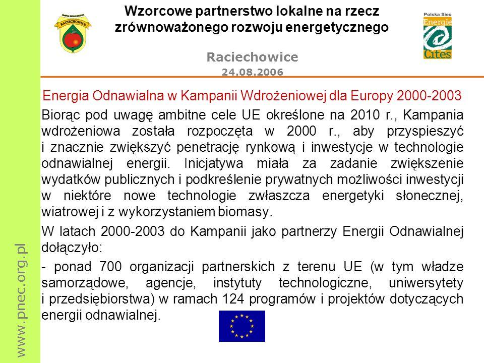 www.pnec.org.pl Wzorcowe partnerstwo lokalne na rzecz zrównoważonego rozwoju energetycznego Raciechowice 24.08.2006 Cele do osiągnięcia w roku 2008 wynikające z polityki i legislacji UE Odnawialne źródła energii (1) Wiatrowa - 15 000 MW dodatkowej mocy zainstalowanej turbin wiatrowych Słoneczna termiczna - 35 milionów m 2 kolektorów słonecznych Fotowoltaiczna - 1 500 MWp instalacji fotowoltaicznych Geotermalna - 15 nowych elektrowni geotermalnych i 10 nowych zakładów nisko- i średniotemperaturowych oraz 250 000 nowo zainstalowanych geotermalnych pomp cieplnych Mała energetyka wodna - 2 000 MW mocy zainstalowanej w nowych, małych elektrowniach wodnych Biogaz - 6 000 nowych elektrowni i elektrociepłowni Biomasa - 450 nowych elektrociepłowni oraz 13 000 nowych systemów ciepłowniczych ( 1) Cele indykatywne dla energii elektrycznej ze źródeł odnawialnych zostały określone przez Unię Europejską na poziomie 22,1% całkowitej produkcji elektryczności w 2010 r.