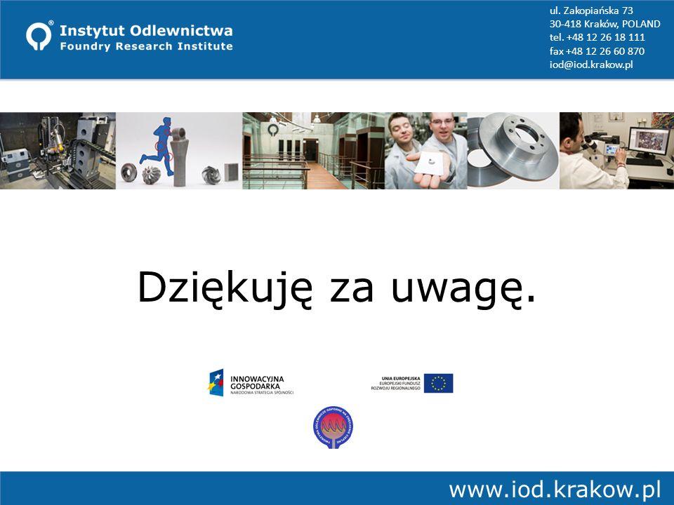 Jerzy J. Sobczak, Elżbieta Balcer, Agnieszka Kryczekwww.iod.krakow.pl Dziękuję za uwagę. ul. Zakopiańska 73 30-418 Kraków, POLAND tel. +48 12 26 18 11