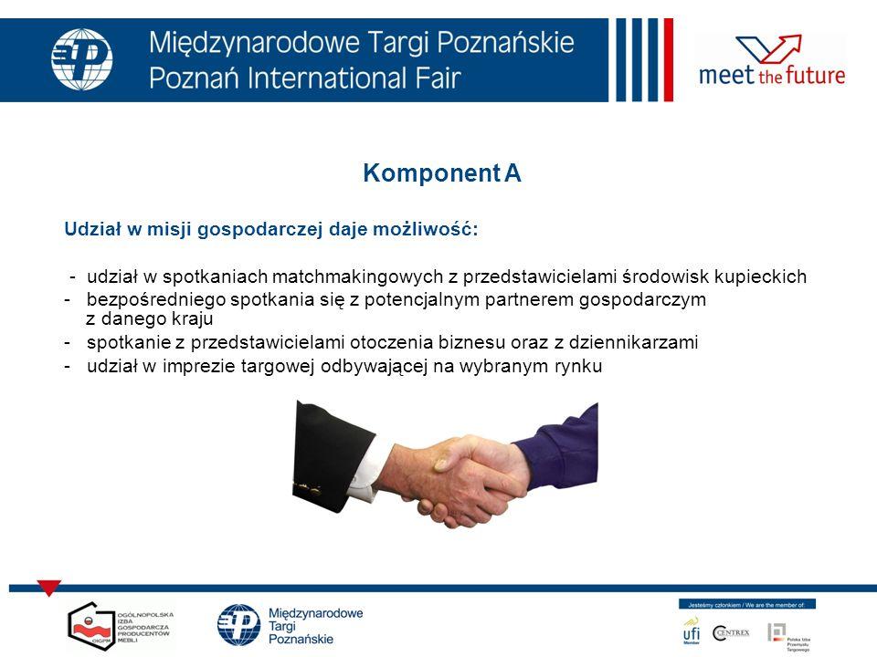 Komponent A Udział w misji gospodarczej daje możliwość: - udział w spotkaniach matchmakingowych z przedstawicielami środowisk kupieckich - bezpośredniego spotkania się z potencjalnym partnerem gospodarczym z danego kraju - spotkanie z przedstawicielami otoczenia biznesu oraz z dziennikarzami - udział w imprezie targowej odbywającej na wybranym rynku