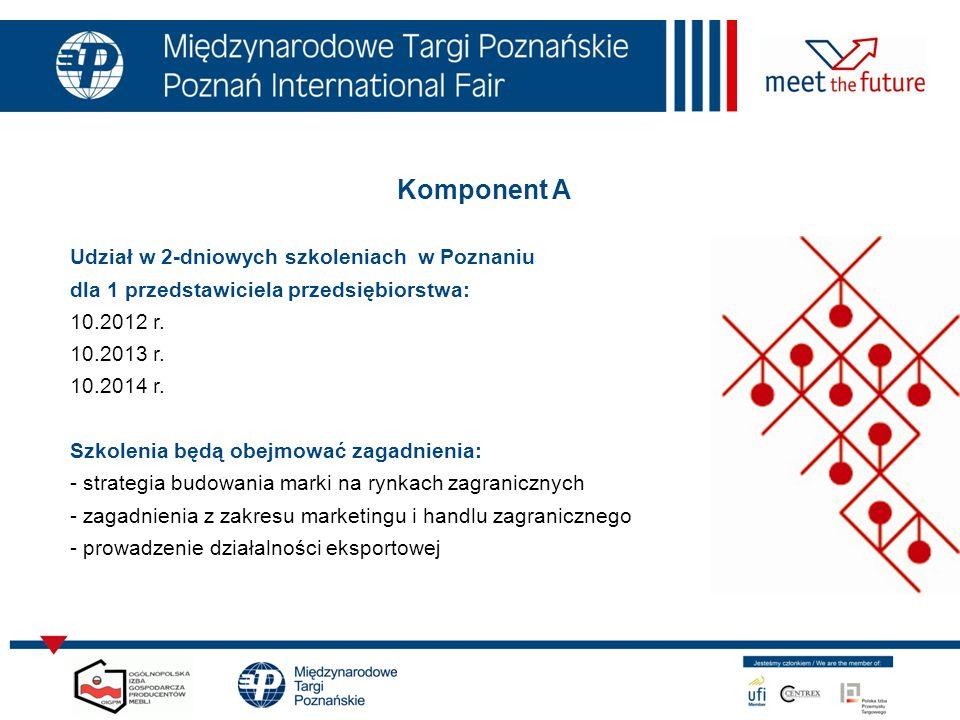 Komponent A Udział w 2-dniowych szkoleniach w Poznaniu dla 1 przedstawiciela przedsiębiorstwa: 10.2012 r. 10.2013 r. 10.2014 r. Szkolenia będą obejmow