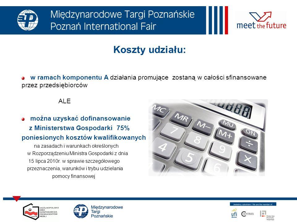 7.01.12 Koszty udziału: w ramach komponentu A działania promujące zostaną w całości sfinansowane przez przedsiębiorców ALE można uzyskać dofinansowani