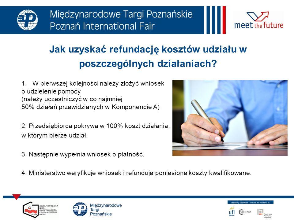Jak uzyskać refundację kosztów udziału w poszczególnych działaniach? 1.W pierwszej kolejności należy złożyć wniosek o udzielenie pomocy (należy uczest