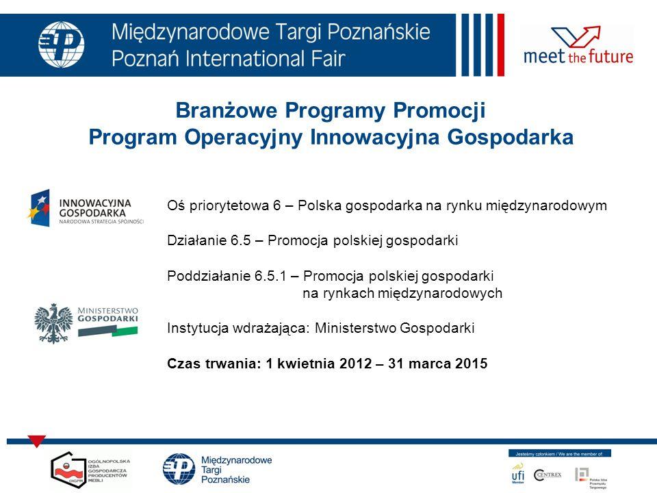 Branżowe Programy Promocji Program Operacyjny Innowacyjna Gospodarka Oś priorytetowa 6 – Polska gospodarka na rynku międzynarodowym Działanie 6.5 – Pr