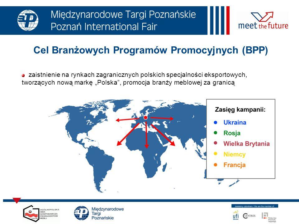 Cel Branżowych Programów Promocyjnych (BPP) zaistnienie na rynkach zagranicznych polskich specjalności eksportowych, tworzących nową markę Polska, promocja branży meblowej za granicą