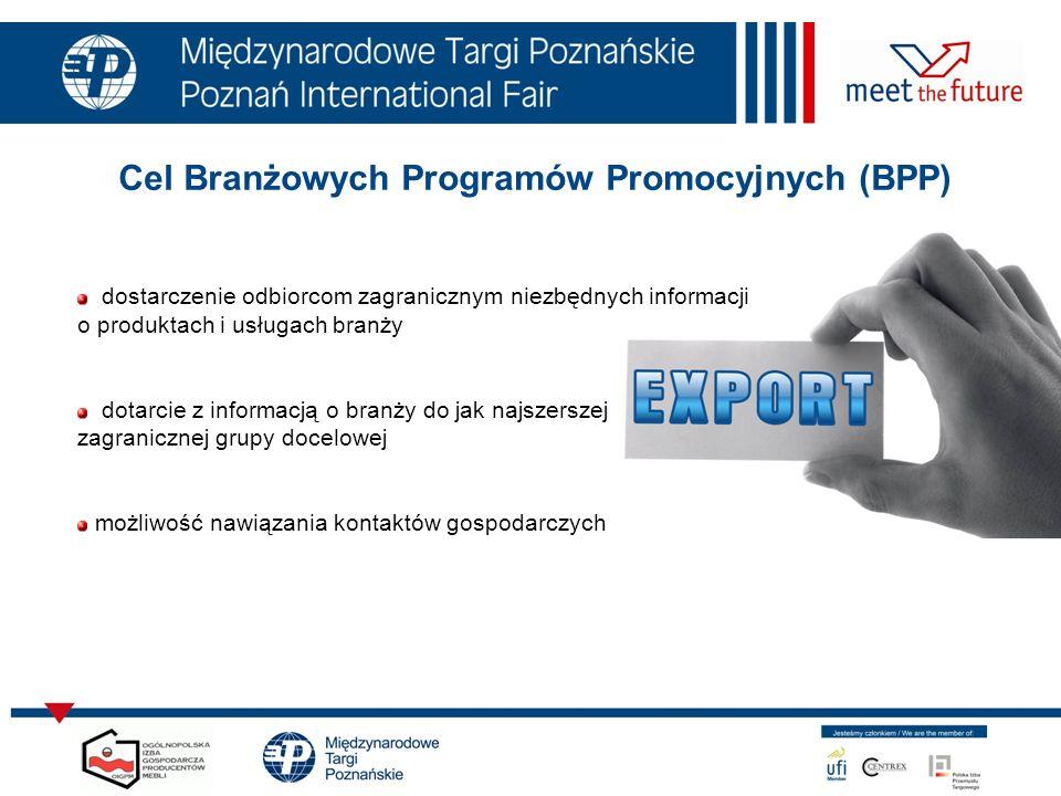 Cel Branżowych Programów Promocyjnych (BPP) dostarczenie odbiorcom zagranicznym niezbędnych informacji o produktach i usługach branży dotarcie z infor