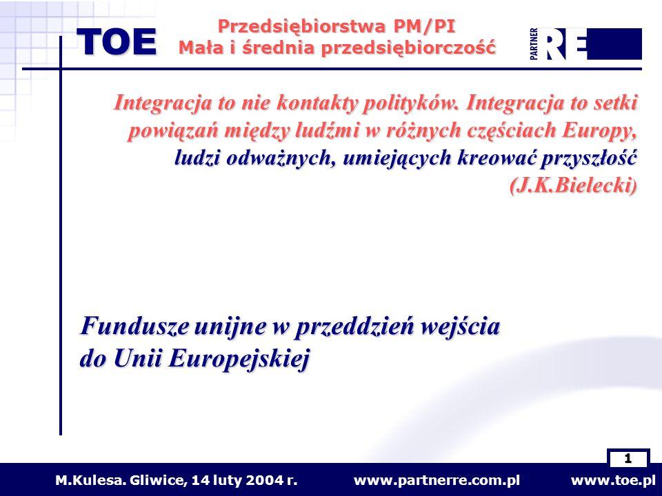 www.partnerre.com.pl www.toe.plM.Kulesa. Gliwice, 14 luty 2004 r. 1 Przedsiębiorstwa PM/PI Mała i średnia przedsiębiorczość TOE Fundusze unijne w prze