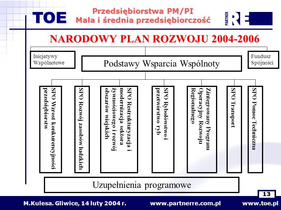 www.partnerre.com.pl www.toe.plM.Kulesa. Gliwice, 14 luty 2004 r. 13 Przedsiębiorstwa PM/PI Mała i średnia przedsiębiorczość TOE Inicjatywy Wspólnotow