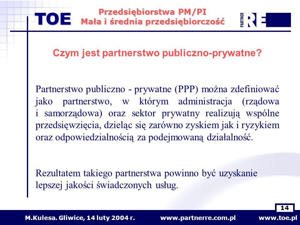 www.partnerre.com.pl www.toe.plM.Kulesa. Gliwice, 14 luty 2004 r. 14 Przedsiębiorstwa PM/PI Mała i średnia przedsiębiorczość TOE Czym jest partnerstwo