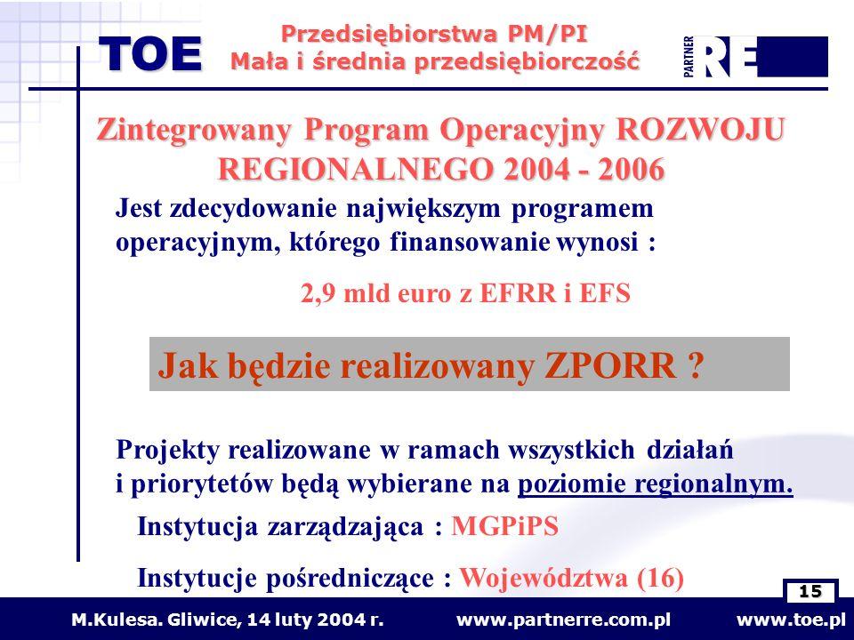 www.partnerre.com.pl www.toe.plM.Kulesa. Gliwice, 14 luty 2004 r. 15 Przedsiębiorstwa PM/PI Mała i średnia przedsiębiorczość TOE Jest zdecydowanie naj