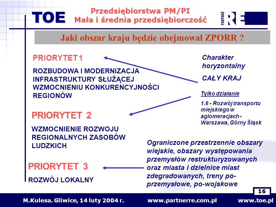 www.partnerre.com.pl www.toe.plM.Kulesa. Gliwice, 14 luty 2004 r. 16 Przedsiębiorstwa PM/PI Mała i średnia przedsiębiorczość TOE PRIORYTET 1 ROZBUDOWA