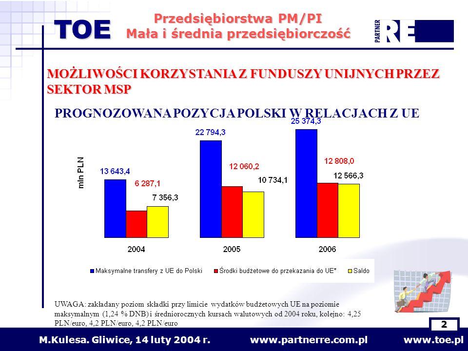 www.partnerre.com.pl www.toe.plM.Kulesa. Gliwice, 14 luty 2004 r. 2 Przedsiębiorstwa PM/PI Mała i średnia przedsiębiorczość TOE MOŻLIWOŚCI KORZYSTANIA