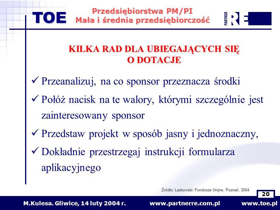 www.partnerre.com.pl www.toe.plM.Kulesa. Gliwice, 14 luty 2004 r. 20 Przedsiębiorstwa PM/PI Mała i średnia przedsiębiorczość TOE KILKA RAD DLA UBIEGAJ