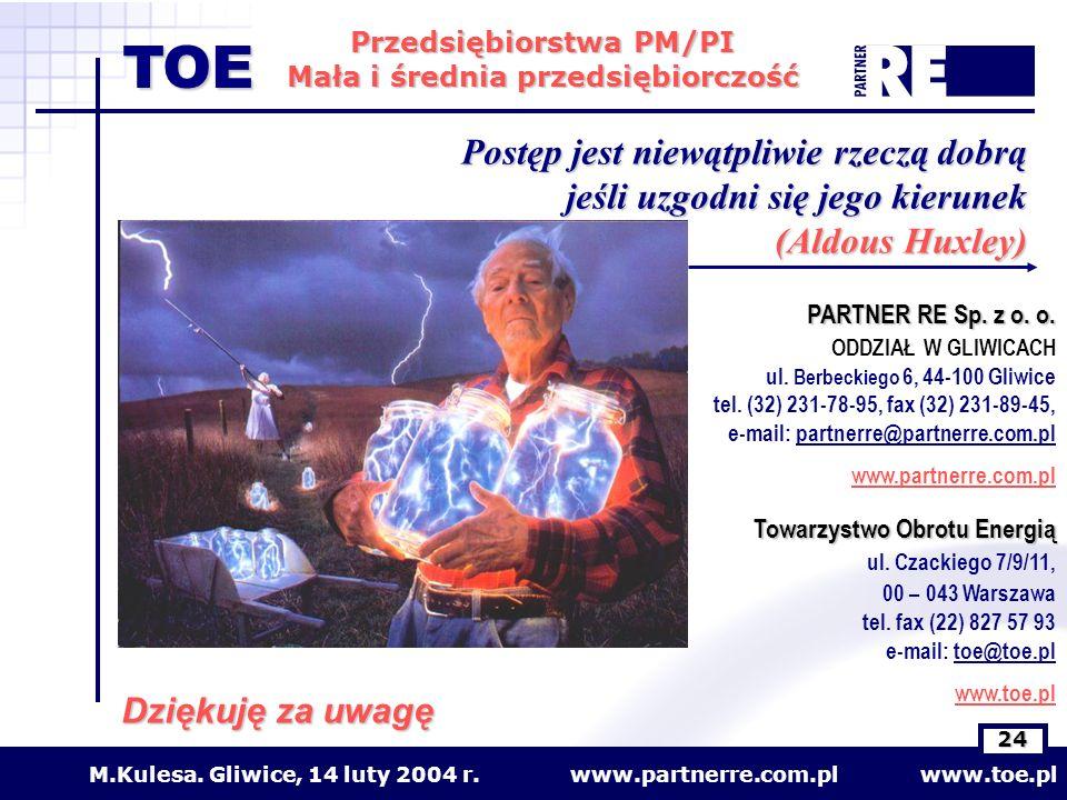 www.partnerre.com.pl www.toe.plM.Kulesa. Gliwice, 14 luty 2004 r. 24 Przedsiębiorstwa PM/PI Mała i średnia przedsiębiorczość TOE Dziękuję za uwagę PAR