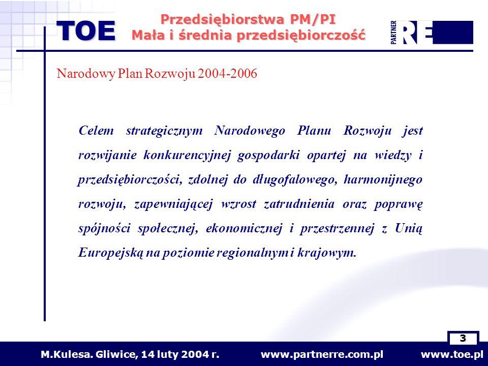 www.partnerre.com.pl www.toe.plM.Kulesa. Gliwice, 14 luty 2004 r. 3 Przedsiębiorstwa PM/PI Mała i średnia przedsiębiorczość TOE Narodowy Plan Rozwoju