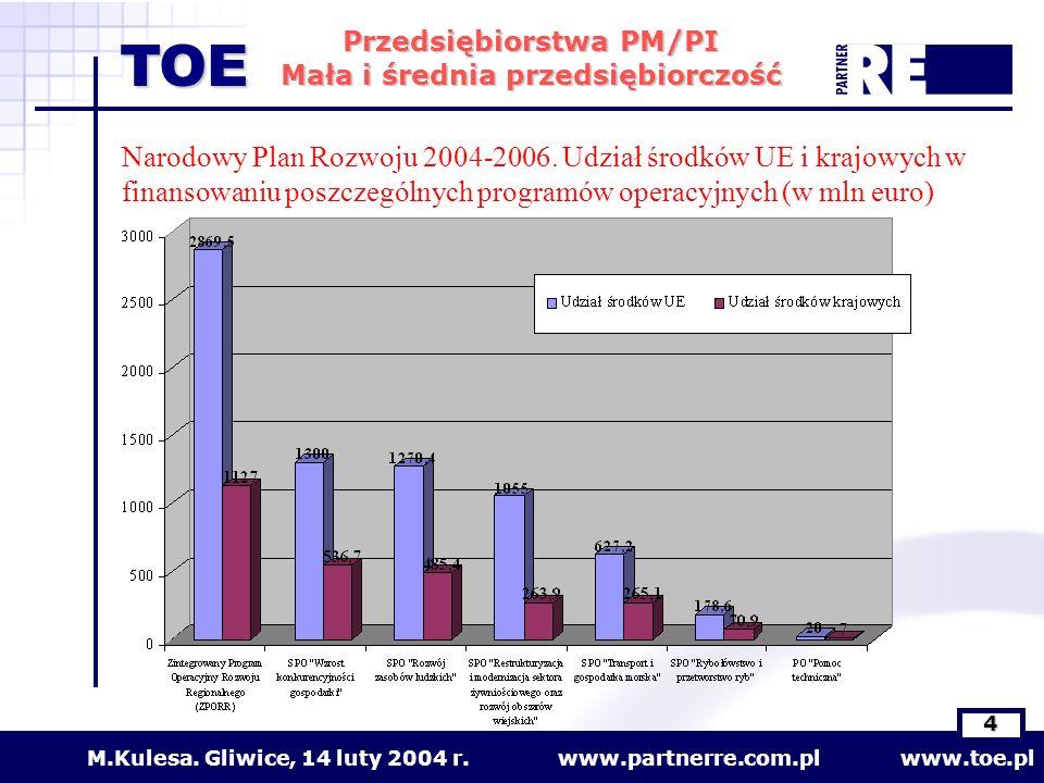 www.partnerre.com.pl www.toe.plM.Kulesa. Gliwice, 14 luty 2004 r. 4 Przedsiębiorstwa PM/PI Mała i średnia przedsiębiorczość TOE Narodowy Plan Rozwoju