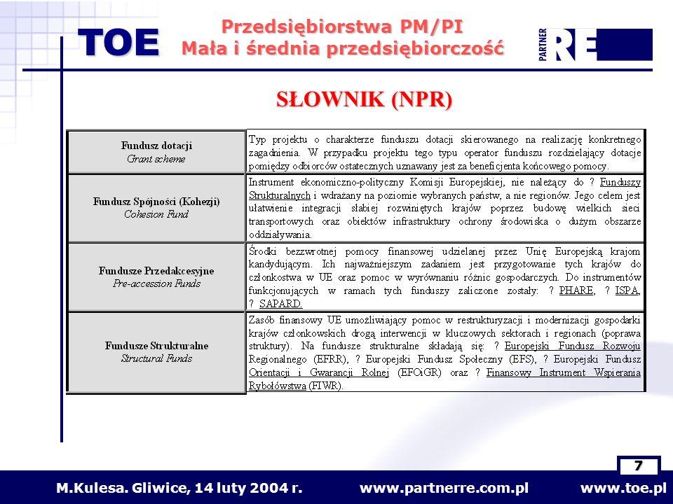 www.partnerre.com.pl www.toe.plM.Kulesa. Gliwice, 14 luty 2004 r. 7 Przedsiębiorstwa PM/PI Mała i średnia przedsiębiorczość TOE SŁOWNIK (NPR)