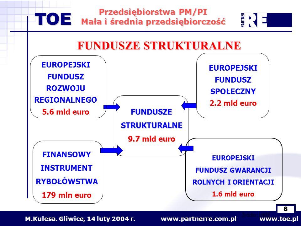 www.partnerre.com.pl www.toe.plM.Kulesa. Gliwice, 14 luty 2004 r. 8 Przedsiębiorstwa PM/PI Mała i średnia przedsiębiorczość TOE FUNDUSZE STRUKTURALNE