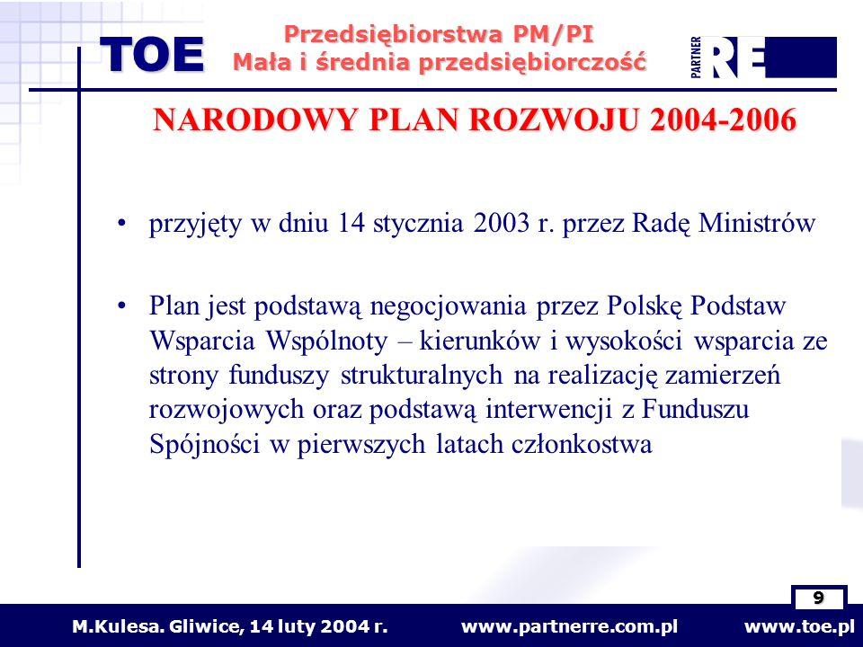 www.partnerre.com.pl www.toe.plM.Kulesa. Gliwice, 14 luty 2004 r. 9 Przedsiębiorstwa PM/PI Mała i średnia przedsiębiorczość TOE NARODOWY PLAN ROZWOJU