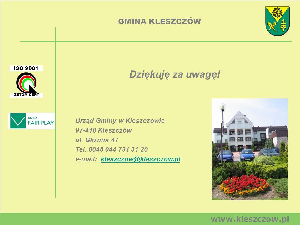 GMINA KLESZCZÓW www.kleszczow.pl Urząd Gminy w Kleszczowie 97-410 Kleszczów ul. Główna 47 Tel. 0048 044 731 31 20 e-mail: kleszczow@kleszczow.plkleszc