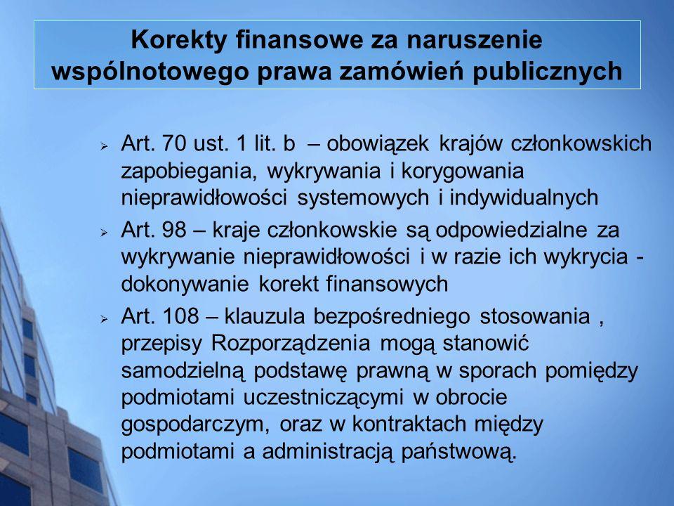 Korekty finansowe za naruszenie wspólnotowego prawa zamówień publicznych Art. 70 ust. 1 lit. b – obowiązek krajów członkowskich zapobiegania, wykrywan