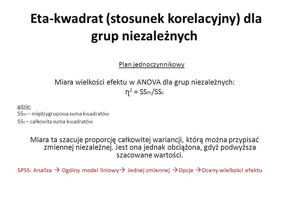 Eta-kwadrat (stosunek korelacyjny) dla grup niezależnych Plan jednoczynnikowy Miara wielkości efektu w ANOVA dla grup niezależnych: ɳ 2 = SS m /SS c g
