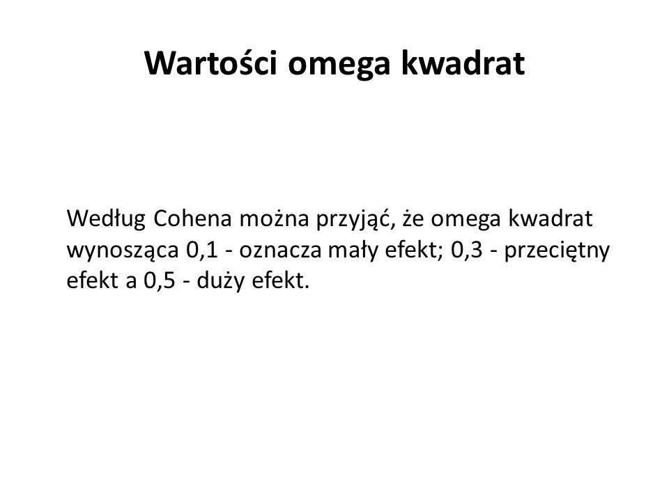 Według Cohena można przyjąć, że omega kwadrat wynosząca 0,1 - oznacza mały efekt; 0,3 - przeciętny efekt a 0,5 - duży efekt. Wartości omega kwadrat