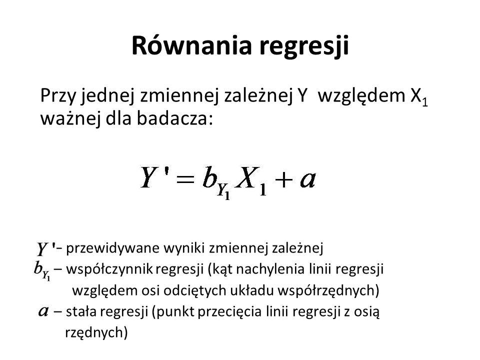 Równania regresji Przy jednej zmiennej zależnej Y względem X 1 ważnej dla badacza: – przewidywane wyniki zmiennej zależnej – współczynnik regresji (ką