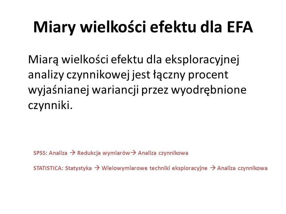 Miary wielkości efektu dla EFA Miarą wielkości efektu dla eksploracyjnej analizy czynnikowej jest łączny procent wyjaśnianej wariancji przez wyodrębni