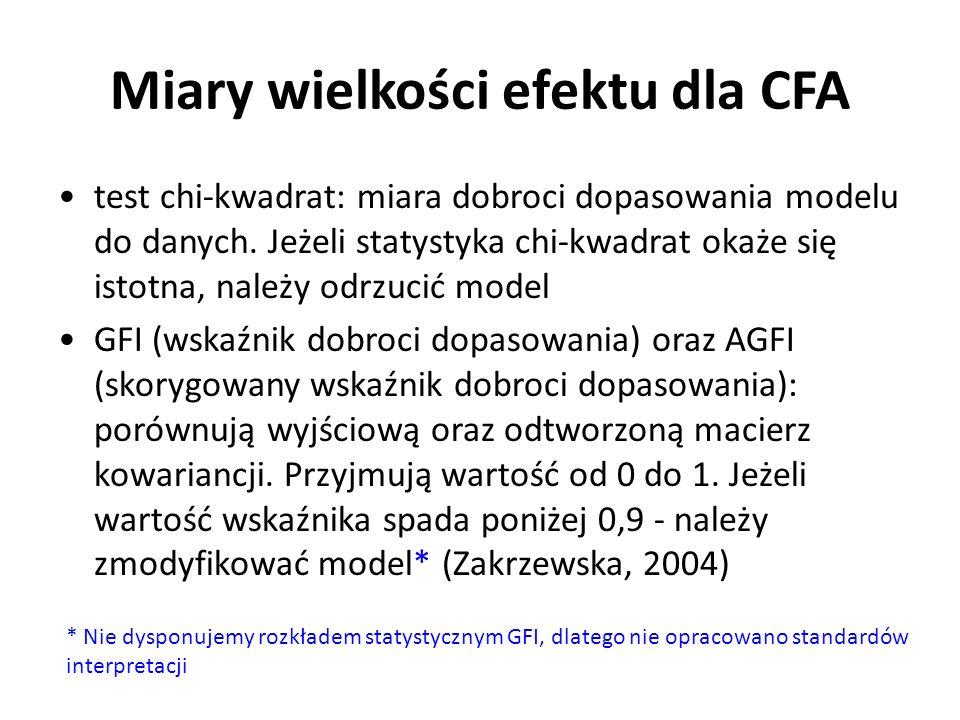 Miary wielkości efektu dla CFA test chi-kwadrat: miara dobroci dopasowania modelu do danych. Jeżeli statystyka chi-kwadrat okaże się istotna, należy o