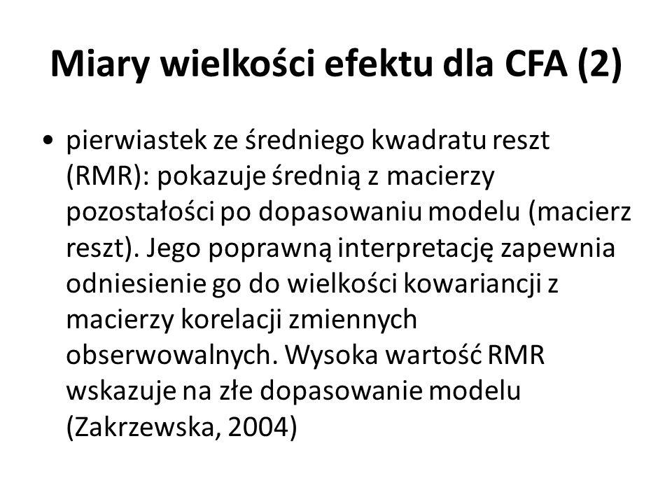 Miary wielkości efektu dla CFA (2) pierwiastek ze średniego kwadratu reszt (RMR): pokazuje średnią z macierzy pozostałości po dopasowaniu modelu (maci