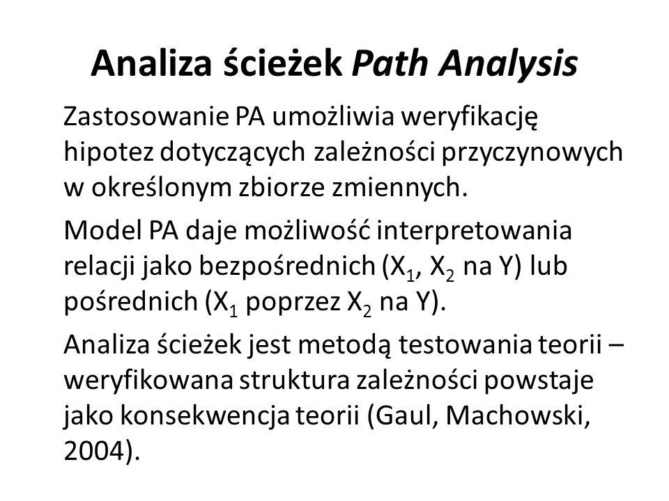Analiza ścieżek Path Analysis Zastosowanie PA umożliwia weryfikację hipotez dotyczących zależności przyczynowych w określonym zbiorze zmiennych. Model