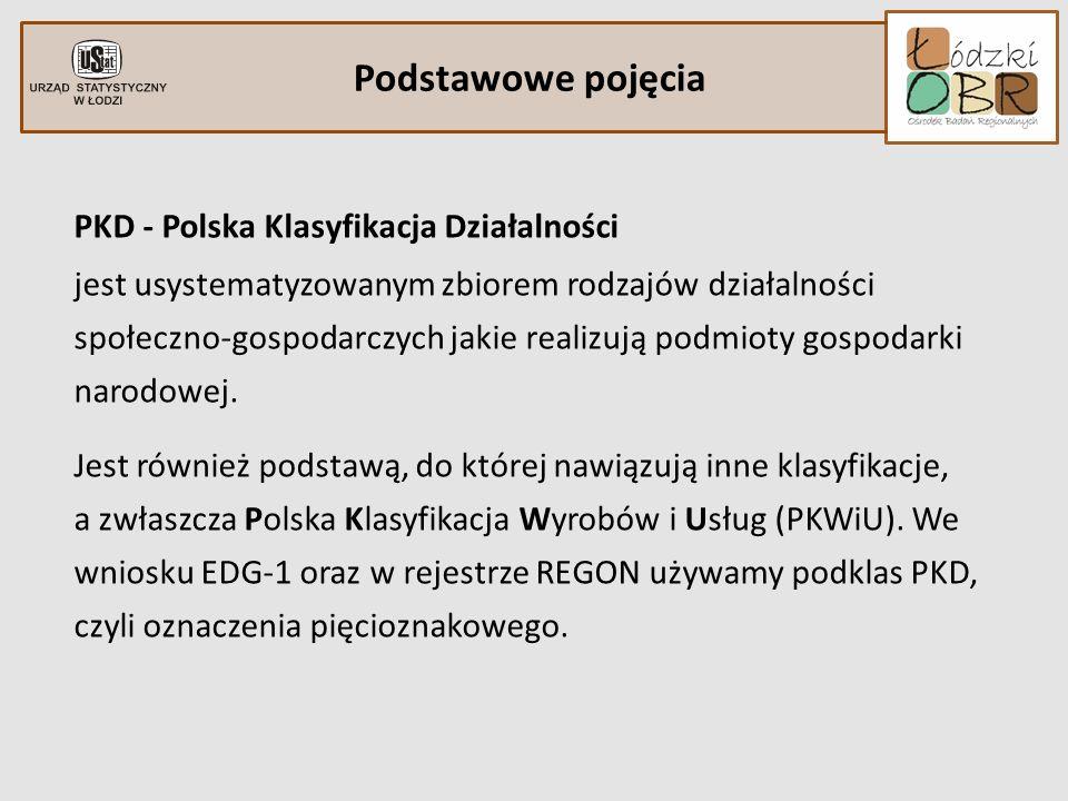 Podstawowe pojęcia PKD - Polska Klasyfikacja Działalności jest usystematyzowanym zbiorem rodzajów działalności społeczno-gospodarczych jakie realizują