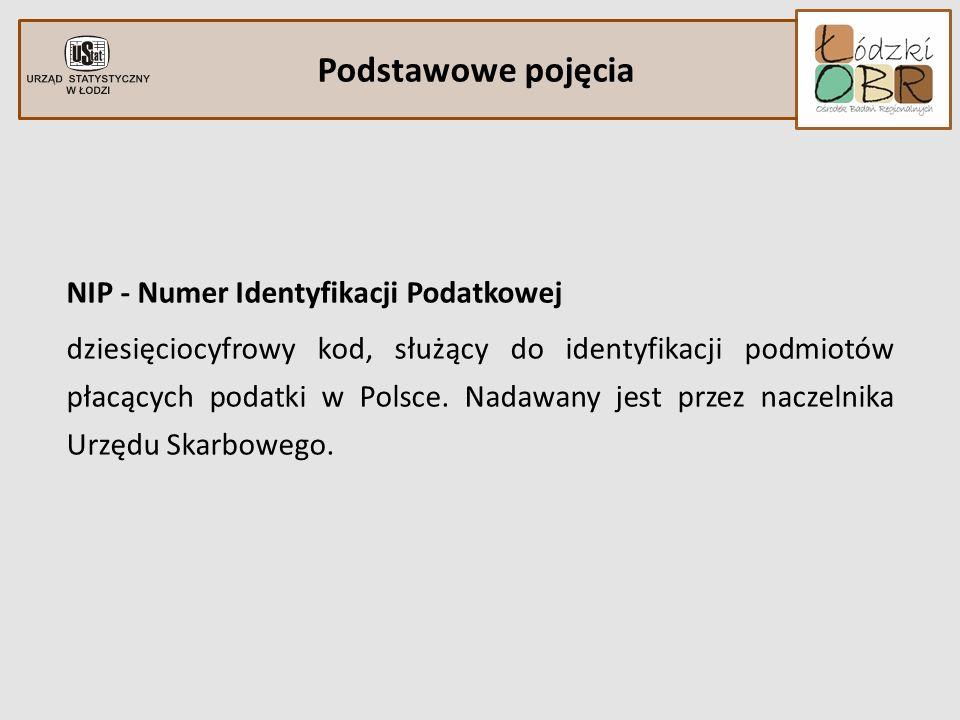 Podstawowe pojęcia NIP - Numer Identyfikacji Podatkowej dziesięciocyfrowy kod, służący do identyfikacji podmiotów płacących podatki w Polsce. Nadawany
