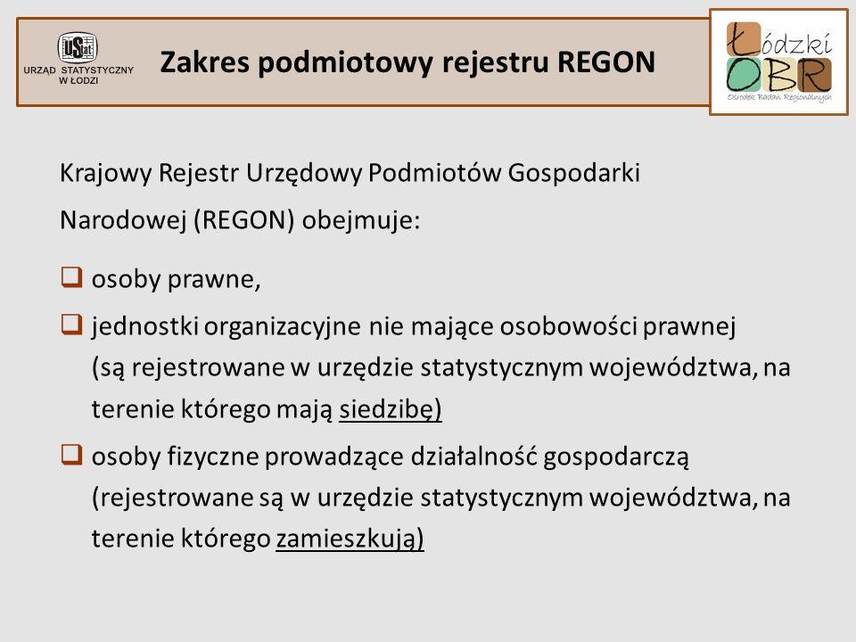 Zakres podmiotowy rejestru REGON Krajowy Rejestr Urzędowy Podmiotów Gospodarki Narodowej (REGON) obejmuje: osoby prawne, jednostki organizacyjne nie m