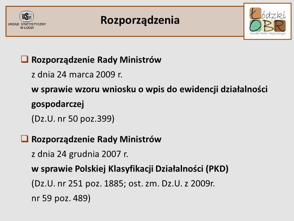 Rozporządzenia Rozporządzenie Rady Ministrów z dnia 24 marca 2009 r. w sprawie wzoru wniosku o wpis do ewidencji działalności gospodarczej (Dz.U. nr 5