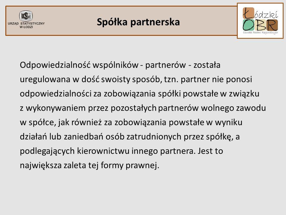 Spółka partnerska Odpowiedzialność wspólników - partnerów - została uregulowana w dość swoisty sposób, tzn. partner nie ponosi odpowiedzialności za zo