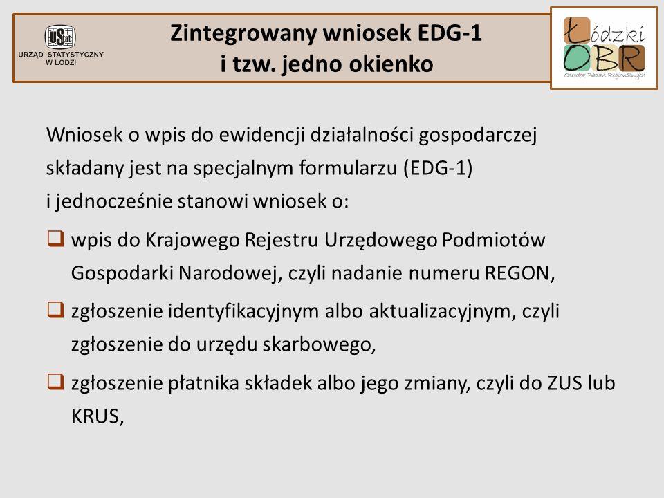 Wniosek o wpis do ewidencji działalności gospodarczej składany jest na specjalnym formularzu (EDG-1) i jednocześnie stanowi wniosek o: wpis do Krajowe
