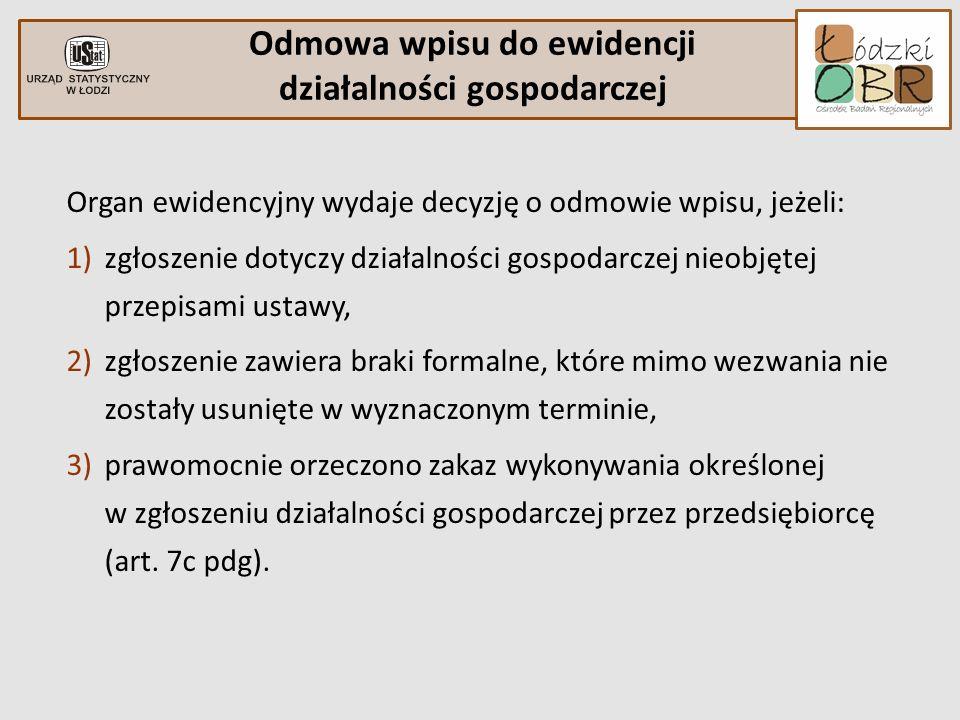 Organ ewidencyjny wydaje decyzję o odmowie wpisu, jeżeli: 1)zgłoszenie dotyczy działalności gospodarczej nieobjętej przepisami ustawy, 2)zgłoszenie za