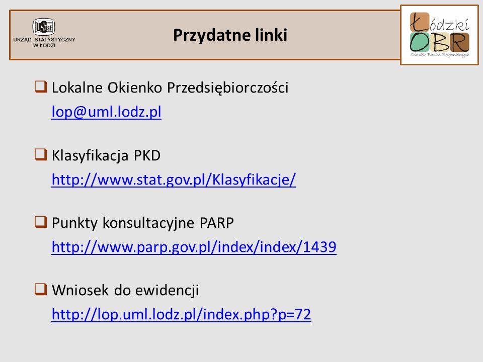 Lokalne Okienko Przedsiębiorczości lop@uml.lodz.pl Klasyfikacja PKD http://www.stat.gov.pl/Klasyfikacje/ Punkty konsultacyjne PARP http://www.parp.gov
